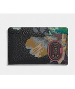 Coach small card case with kaffe fassett print Leather Wallet ~NWT~ Blac... - $69.50