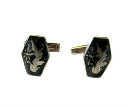 Vintage Thai Sterling Silver Niello Cuff Links - Siamese Goddess - $26.00