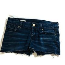 Decree Juniors Size 7 Dark Wash Cut Off Jean Booty Shorty Shorts - $16.79