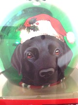 Christmas Ornament Black Labrador Retriever Dog Green Glass Ball - $11.88