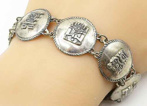 Primary image for SOUTHWESTERN 925 Silver - Vintage Traditional Pattern Chain Bracelet - B4697