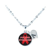 Custom Poland Syndrome Awareness Ribbon Silver Necklace Jewelry Initial Family - $13.94