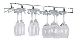 Large Chrome Stemware Holder Stainless Steel Wine Glass Cup Racks Storag... - €30,46 EUR