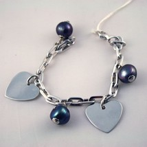 925 Silver Bracelet with Black Pearls Baroque - $84.01