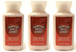 3 Bath & Body Works Travel Body Lotion Moisturizer Champagne Apple & Honey 3 Oz - $18.04