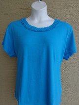 Being Casual Ribbed Cotton Knit Ruffled Scoop Neck Tee Top Ocean 2X - $4.00
