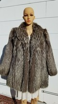 "VIDEO! Med Large 40"" Chest SILVER FOX Black Grey Brn Fur Women Coat Shor... - $336.60"