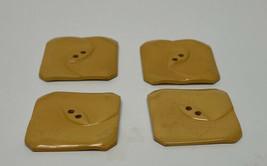 Menge 4 Gelb Geometrische Quadratisch Gepresster Bakelit Knöpfe - $58.90