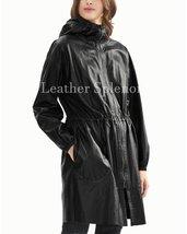 Hooded Women Winter Leather Coat