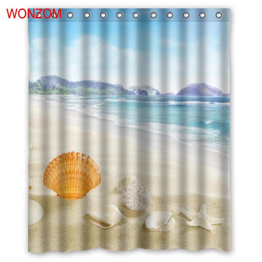 WONZOM Sea Landscape Shower Curtains For Bathroom Decor Modern Shell Waterproof  image 2