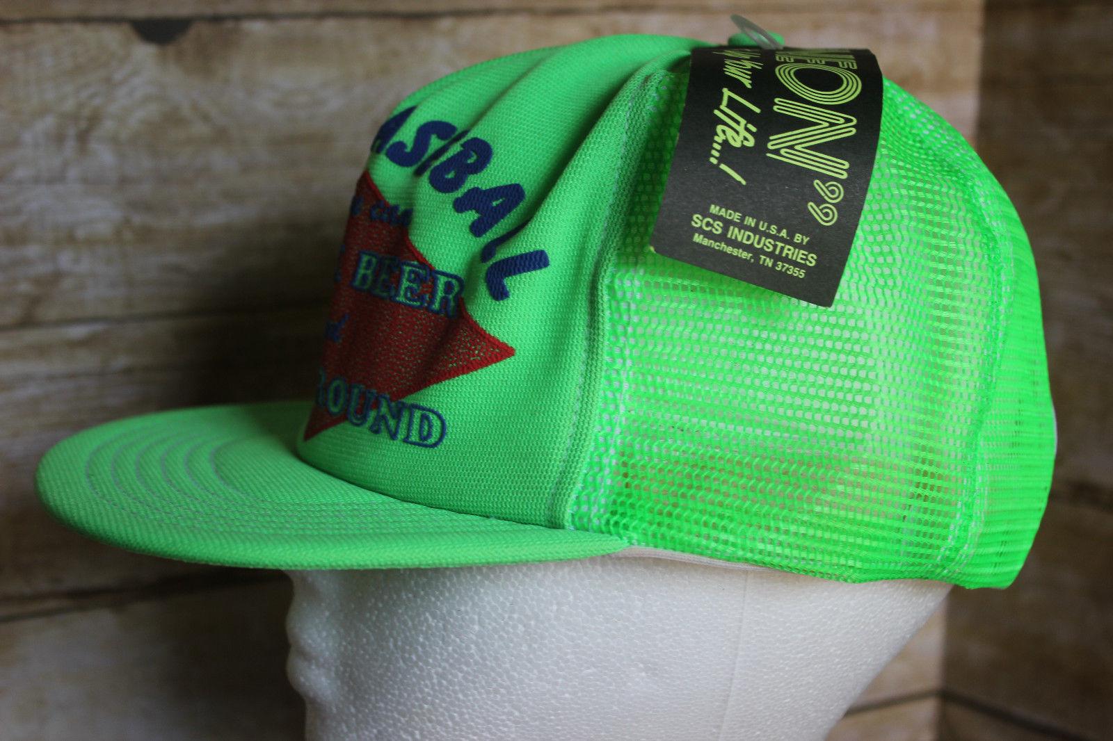 Vintage 80s Play Baseball Drink Beer & Run Around Trucker Hat Snap Back Cap  NOS