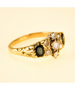 Vintage 18k Gold Sapphire and Diamond Mens Ring UK Size S BHS - $1,711.63