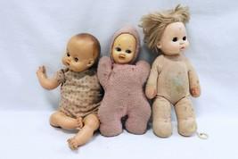 ORIGINAL Vintage Lot of 3 Antique Soft Body Baby Dolls Brands Unknown  - $9.89