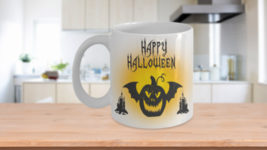 Halloween Black Pumpkin Black Bat Candles Candy Gift Prize Coffee Mug  - $14.99