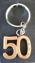 50th in gold finish with 3 crystals  keyring made in uk from uk made parts keyri