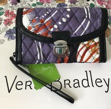 Vera Bradley Ultimate Wristlet Pushlock Trifold Painted Feathers Nwt Msrp $54.00 - $25.99
