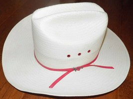 White Natural with Red Band 4X Stetson Straw Hat 6 5/8 - FREE SHIPPING - $44.99