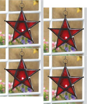 Four (4) wrought iron frame red glass hanging star candleholder lanterns... - $32.00