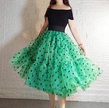 Pink Polka-Dot Puffy Tutu Skirt Outfit A-line Layered Plus Size Puffy Midi Skirt image 8