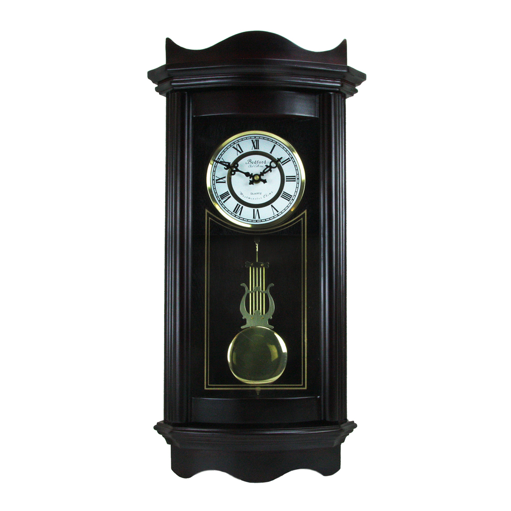 Bedford Clock Collection 25 Inch Chiming Pendulum Wall Clock in Weathered Chocol
