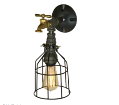Industrial Pipe Wall Sconce With Wire Cage, Single Bulb E-26 & Water Valve - $95.00