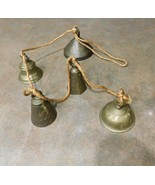 Vintage String of 5 Solid Brass Etched GRADUATED SIZES Bell Chimes on Cord - $41.99