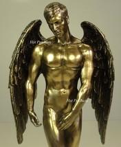 "11"" NUDE MALE GUARDIAN ANGEL Winged Sculpture Statue Antique Bronze Finish - $55.00"