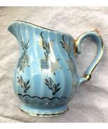 Vintage Sadler Blue Swirl Creamer Made in England Painted Gilt Flowers 3048 - £7.65 GBP