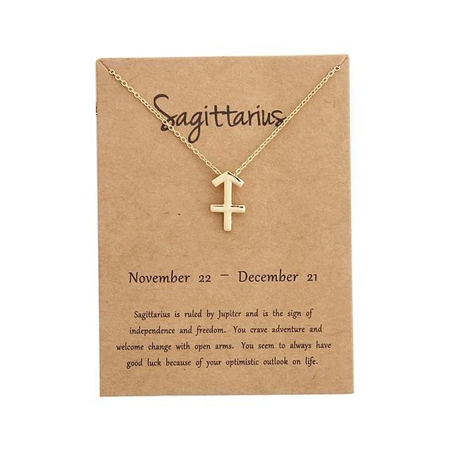 Star Zodiac Sign 12 Constellation Necklaces Pendants Choker Necklaces for Women