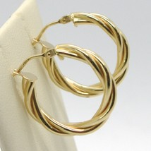 18K YELLOW GOLD CIRCLE HOOPS DOUBLE TUBE TWISTED EARRINGS 22 MM x 3.5 MM, ITALY image 2