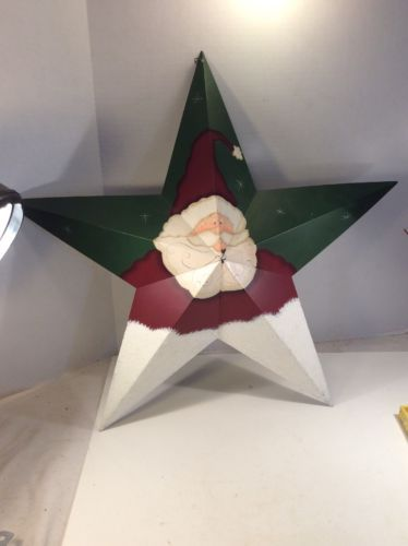 Primary image for Holiday Christmas Santa Face Metal Star Tin Wall Decor Wall Hanging  Mounted 24