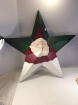 Holiday Christmas Santa Face Metal Star Tin Wall Decor Wall Hanging  Mou... - $27.72