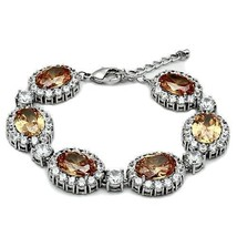 Hcjewelry - 36 Carat Oval Champagne Cubic Zirconia Link Bracelet Limited Offer - $46.99