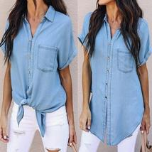 Vintage Women's Denim Blouse With Pockets 2018 Summer Top Short Sleeve C... - $37.38