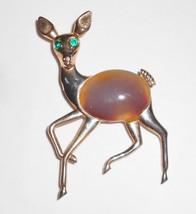 Vintage Deer Pin With Tiger Eye perhaps agate Stone Detail mid century figural J - $25.00