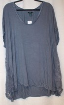 New Womens Plus Size 3X Steel Blue Lace Sides Medallion Swing Tee Shirt Top - $17.41