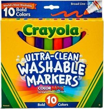 Crayola Ultra-Clean Color Max Broad Line Washable Markers Bold Colors NEW