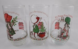 Hollie Hobby Glass Set of 3 Coca Cola Coke AGC Vintage Christmas #2 - $5.95