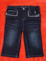 BABY PHAT Girl's Jeans Capri Sz 6 Dark Blue Stretch Cat Logo Sequin Pock... - $12.19