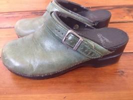 Dansko Green Nubuck Leather Womens Slip On Shoes Buckle Mules Clogs 7.5 38 - $25.89