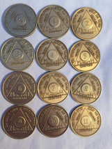 Set of 135 Month Bronze AA Alcoholics Anonymous Medallion Month 1 - 11 &... - $188.99