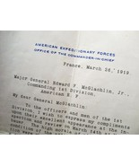 General Pershing Letter to Major General McGlachlin WWI France C2622 - $240.77