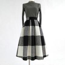 BLACK PLAID Midi Skirt Women Classy Winter Long Plaid Skirt Outfit Plus Size  image 1