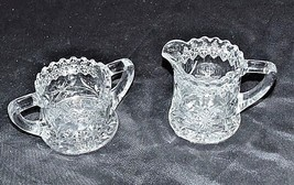 Cut Glass Floral Design Sugar and Creamer Set AA18 - 1180  Vintage Heavy image 2