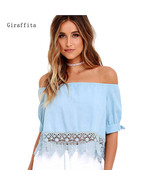 Elegant Blue Off Shoulder Female Blouse Shirt Sexy Summer 2018 Blouse Wo... - $34.00