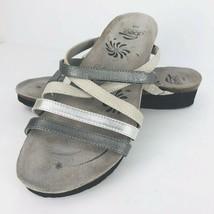 Abeo Bio System 9N Sandals Slides Cork Sole Leather Gray Beige Silver Slip On  - $64.34