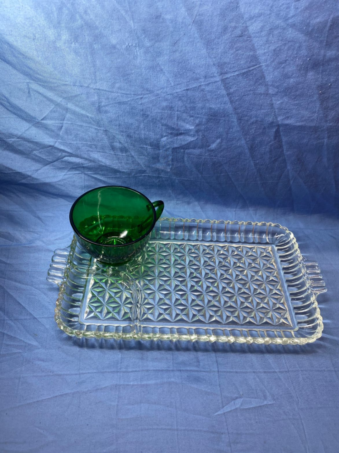 Primary image for Vintage Anchor Hocking Serva Snack Set Forest Green Punch Tea Cup And Clear Tray