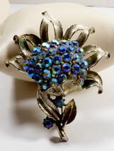 Vtg Coro signed Blue Aurora Borealis Rhinestone Flower Pin Brooch - $37.87