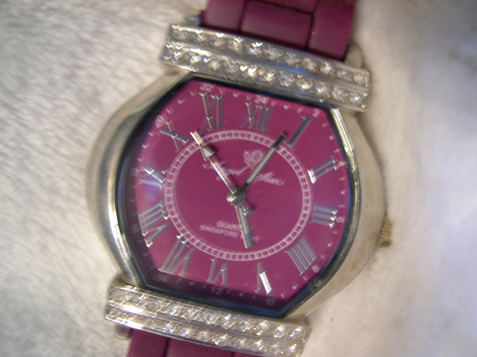 "Primary image for L04, ANGEL STAR Ladies Watch, Easy Read Burgandy Face,  9.5"" Burg Silicon Band"