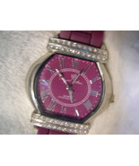 "L04, ANGEL STAR Ladies Watch, Easy Read Burgandy Face,  9.5"" Burg Silico... - $19.87"